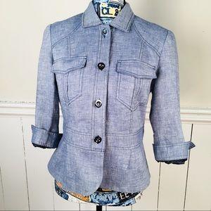 Jackets & Blazers - Women's Blue Rayon Tailed Blazer Shirt Two Pocket